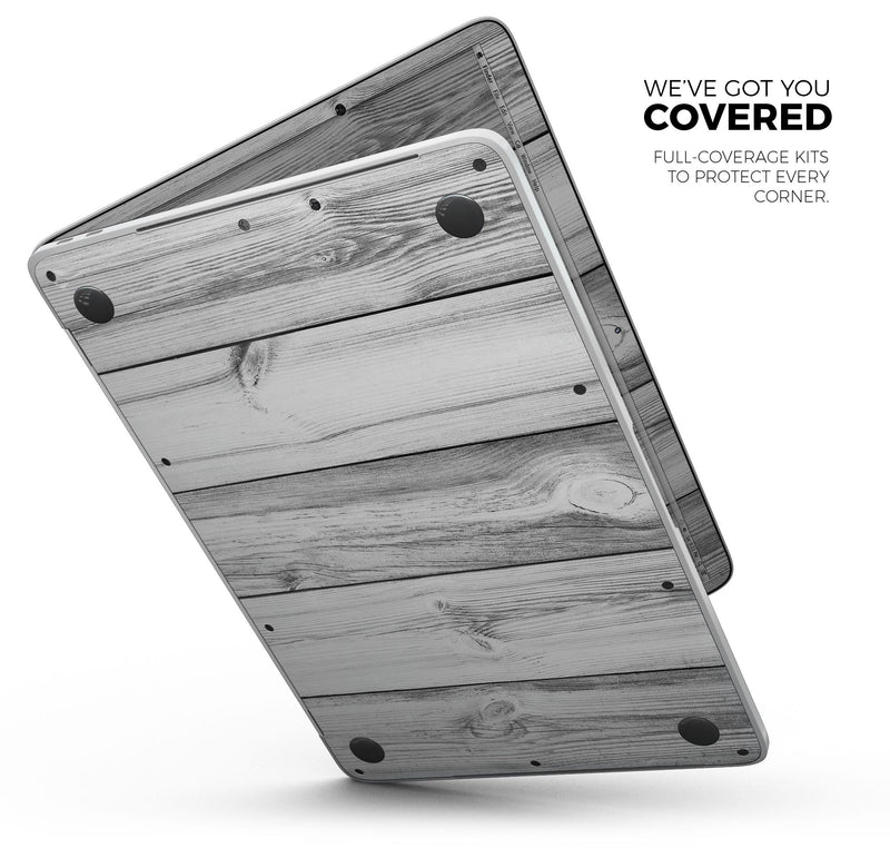 "White & Gray Wood Planks - Skin Decal Wrap Kit Compatible with the Apple MacBook Pro, Pro with Touch Bar or Air (11"", 12"", 13"", 15"" & 16"" - All Versions Available)"