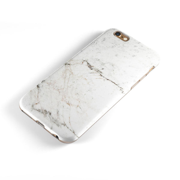 White Grungy Marble Surface iPhone 6/6s or 6/6s Plus 2-Piece Hybrid INK-Fuzed Case