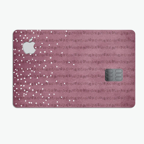 White Micro Hearts Over Burgundy Leaves - Premium Protective Decal Skin-Kit for the Apple Credit Card