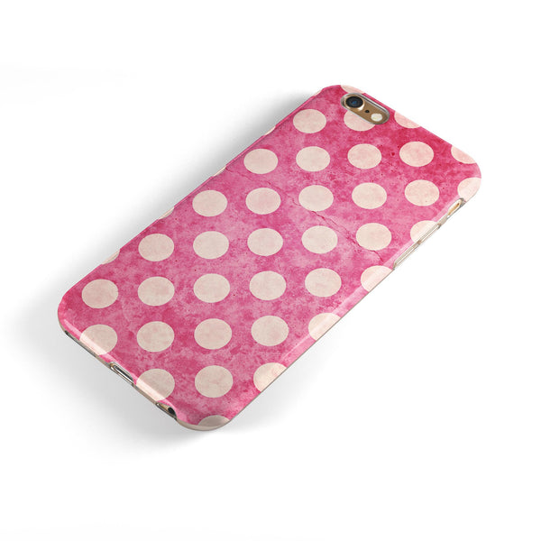 White Polka Dots Over Grungy Pink  iPhone 6/6s or 6/6s Plus 2-Piece Hybrid INK-Fuzed Case