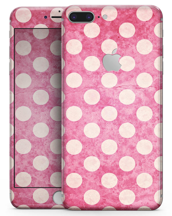 White Polka Dots Over Grungy Pink  - Skin-kit for the iPhone 8 or 8 Plus
