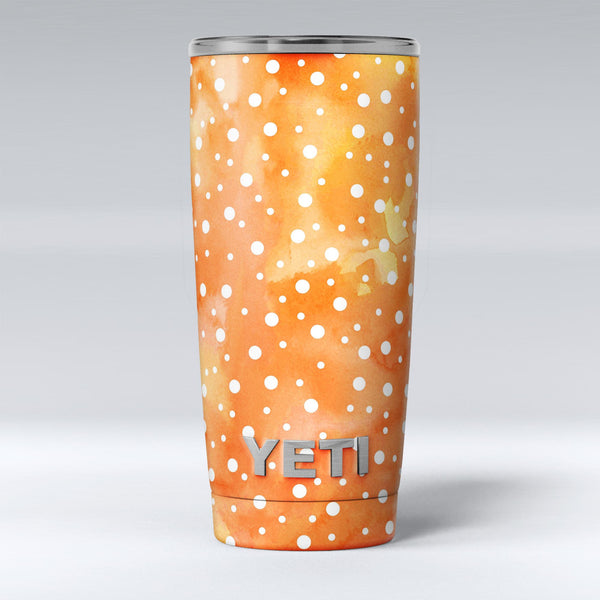 White_Polka_Dots_Over_Orange_Watercolor_Grunge_-_Yeti_Rambler_Skin_Kit_-_20oz_-_V1.jpg