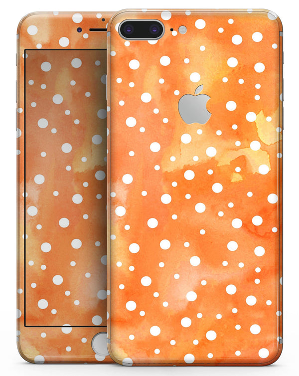 White Polka Dots Over Orange Watercolor Grunge - Skin-kit for the iPhone 8 or 8 Plus