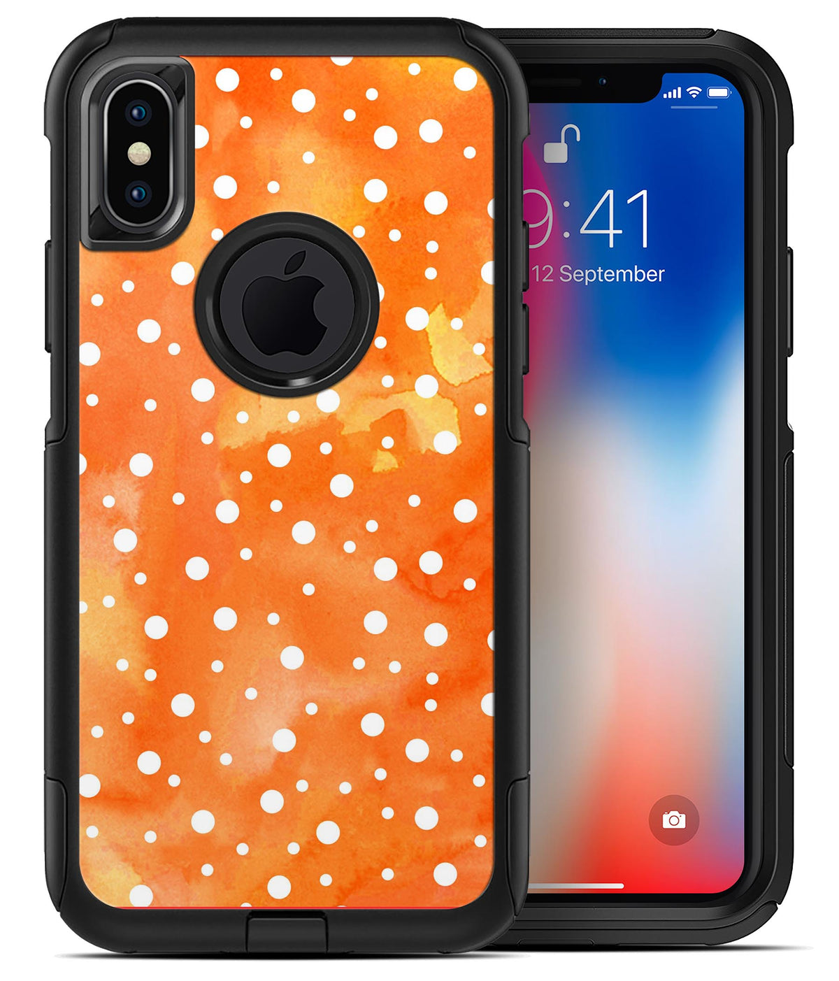 White Polka Dots Over Orange Watercolor Grunge Iphone X Otterbox Commuter For Black Case Skin Kits
