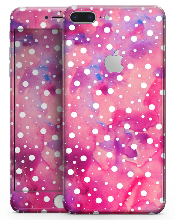 White Polka Dots Over Pink Watercolor Grunge - Skin-kit for the iPhone 8 or 8 Plus