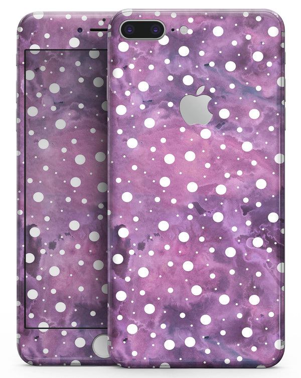 White Polka Dots Over Purple Pink Paint Mix - Skin-kit for the iPhone 8 or 8 Plus