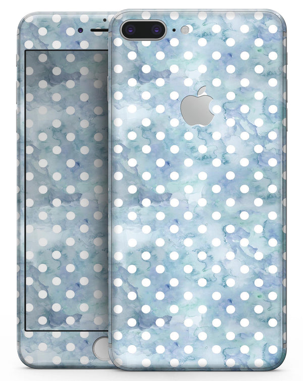 White Polka Dots over Pale Blue Watercolor - Skin-kit for the iPhone 8 or 8 Plus
