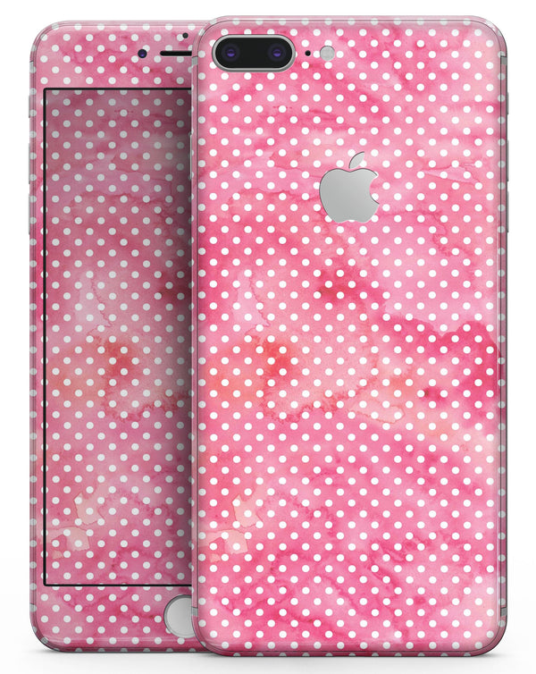 White Polka Dots over Pink Watercolor V2 - Skin-kit for the iPhone 8 or 8 Plus