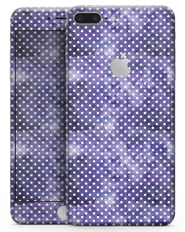 White Polka Dots over Purple Watercolor V2 - Skin-kit for the iPhone 8 or 8 Plus
