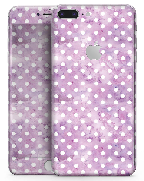White Polka Dots over Purple Watercolor - Skin-kit for the iPhone 8 or 8 Plus