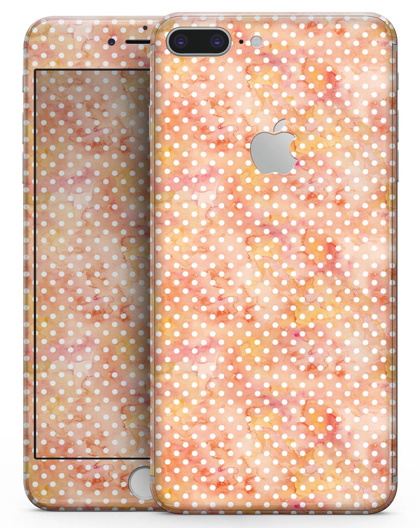 White Polka Dots over Red-Orange Watercolor V2 - Skin-kit for the iPhone 8 or 8 Plus