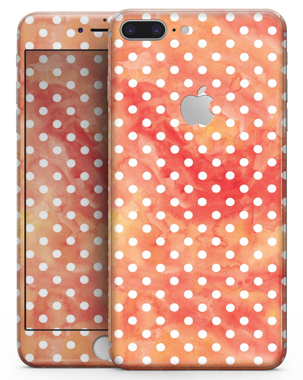 White Polka Dots over Red-Orange Watercolor - Skin-kit for the iPhone 8 or 8 Plus