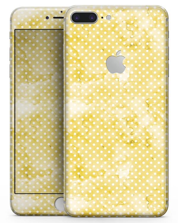 White Polka Dots over Yellow Watercolor V2 - Skin-kit for the iPhone 8 or 8 Plus