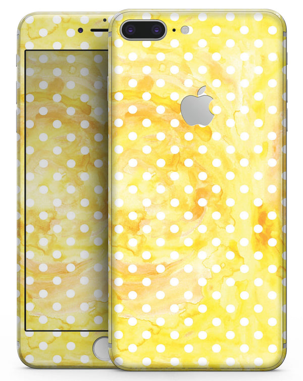 White Polka Dots over Yellow Watercolor - Skin-kit for the iPhone 8 or 8 Plus