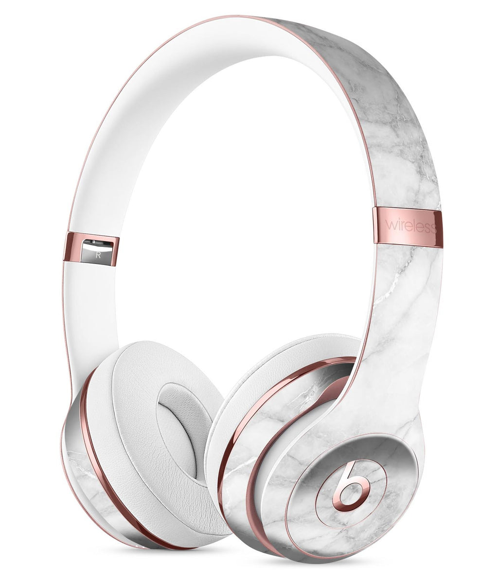 White Scratched Marble Full Body Skin Kit For The Beats By Dre Solo 3 Designskinz
