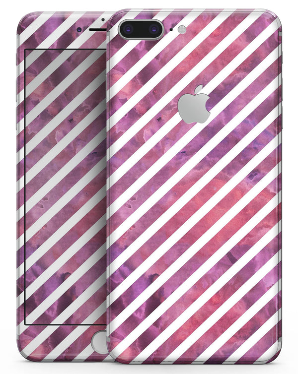 White Slanted Lines Over Pink and Purple Grunge Surface - Skin-kit for the iPhone 8 or 8 Plus