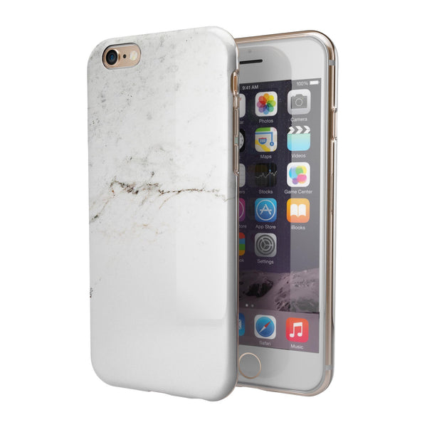White Slight Grunge Marble Surface iPhone 6/6s or 6/6s Plus 2-Piece Hybrid INK-Fuzed Case