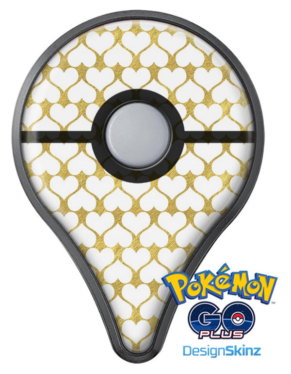 White and Gold Foil Hearts v13 Pokémon GO Plus Vinyl Protective Decal Skin Kit