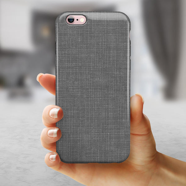 White and Gray Scratched Fabric Surface iPhone 6/6s or 6/6s Plus 2-Piece Hybrid INK-Fuzed Case