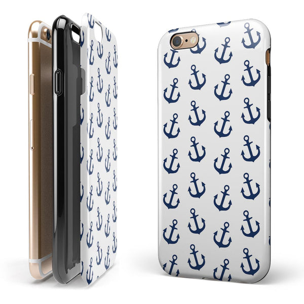 White and Navy Micro Anchors iPhone 6/6s or 6/6s Plus 2-Piece Hybrid INK-Fuzed Case
