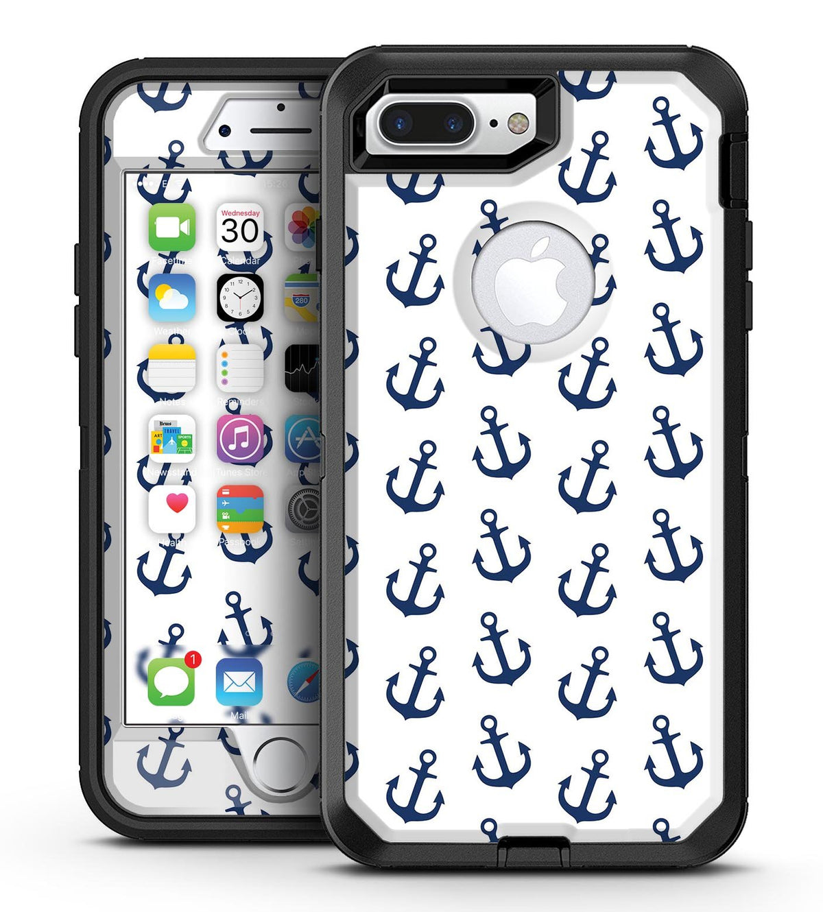 brand new ffe52 1ca3f White and Navy Micro Anchors - iPhone 7 Plus/8 Plus OtterBox Case & Skin  Kits