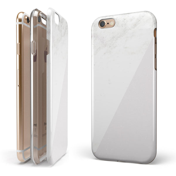 White and Neutral Marble Slab iPhone 6/6s or 6/6s Plus 2-Piece Hybrid INK-Fuzed Case