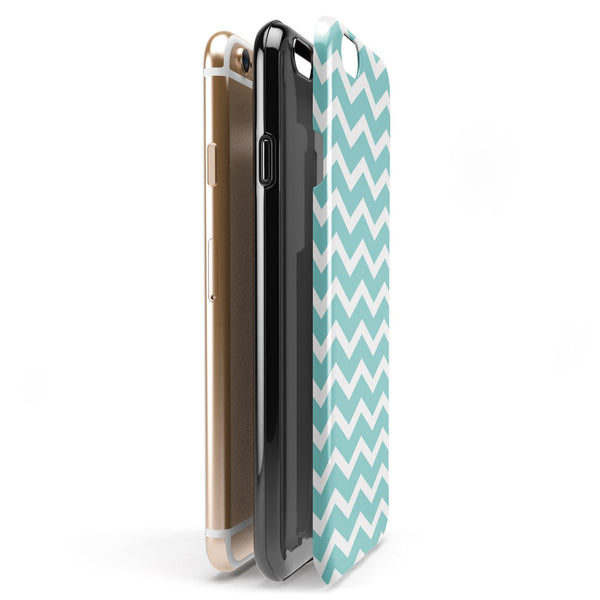 White and Teal Chevron Stripes iPhone 6/6s or 6/6s Plus 2-Piece Hybrid INK-Fuzed Case