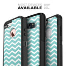 White and Teal Chevron Stripes - Skin Kit for the iPhone OtterBox Cases