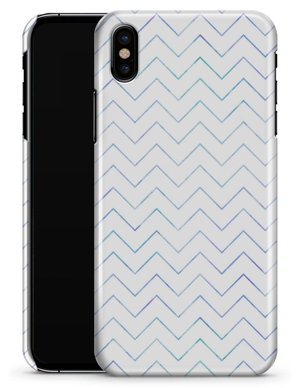 White and Thin Blue Chevron Pattern - iPhone X Clipit Case