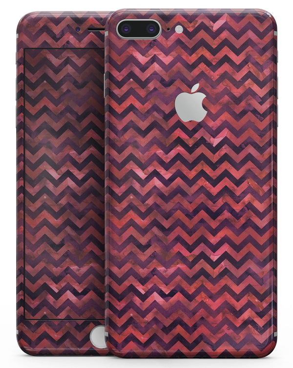 Wine Basic Watercolor Chevron Pattern - Skin-kit for the iPhone 8 or 8 Plus
