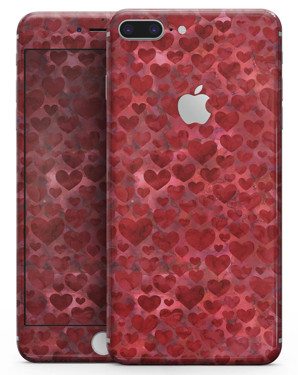 Wine Watercolor Hearts - Skin-kit for the iPhone 8 or 8 Plus
