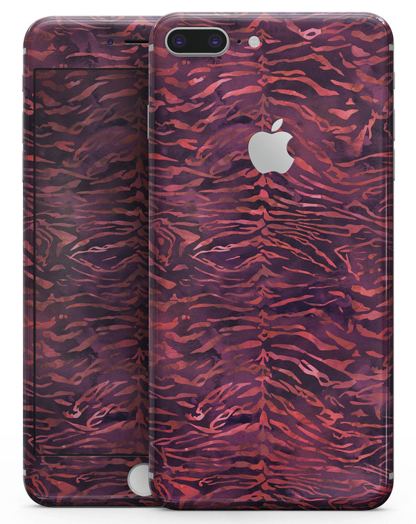 Wine Watercolor Tiger Pattern - Skin-kit for the iPhone 8 or 8 Plus