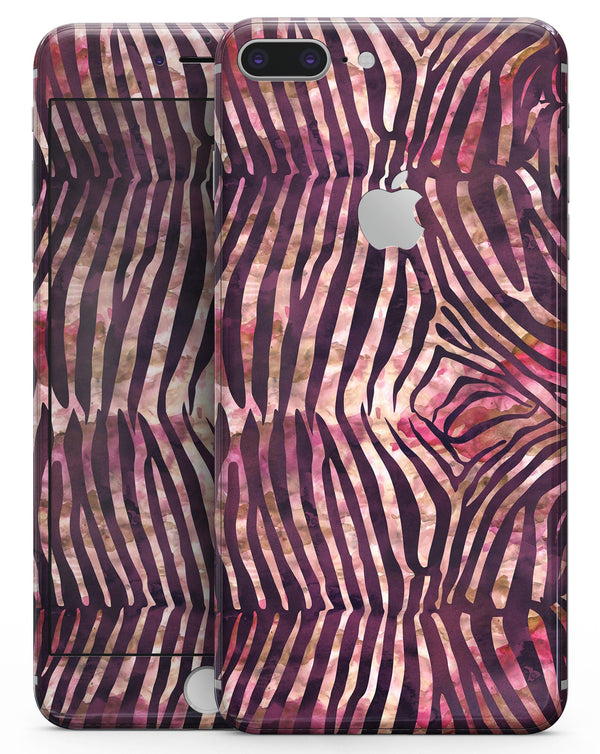 Wine Watercolor Zebra Pattern - Skin-kit for the iPhone 8 or 8 Plus