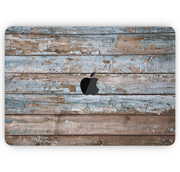 "Wood Planks with Peeled Blue Paint - Skin Decal Wrap Kit Compatible with the Apple MacBook Pro, Pro with Touch Bar or Air (11"", 12"", 13"", 15"" & 16"" - All Versions Available)"