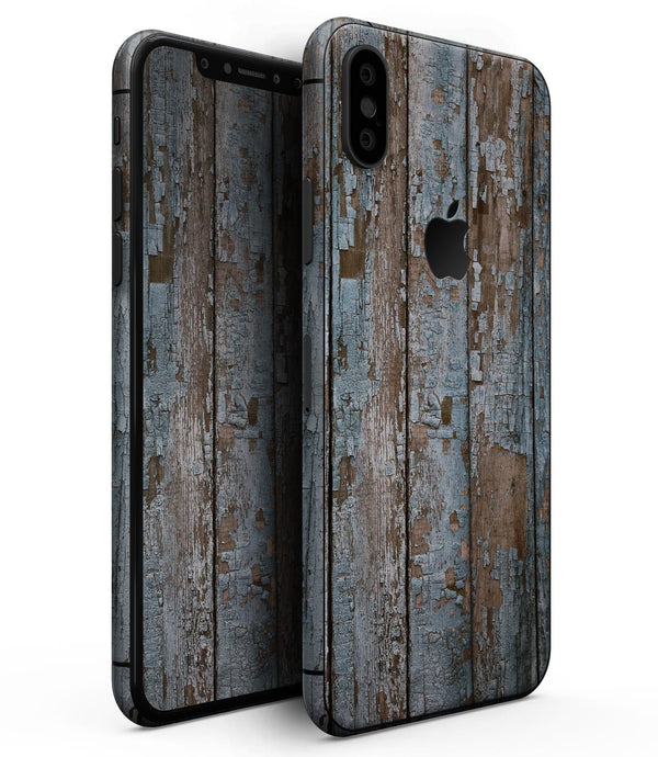 Wood Planks with Peeled Blue Paint - iPhone XS MAX, XS/X, 8/8+, 7/7+, 5/5S/SE Skin-Kit (All iPhones Available)