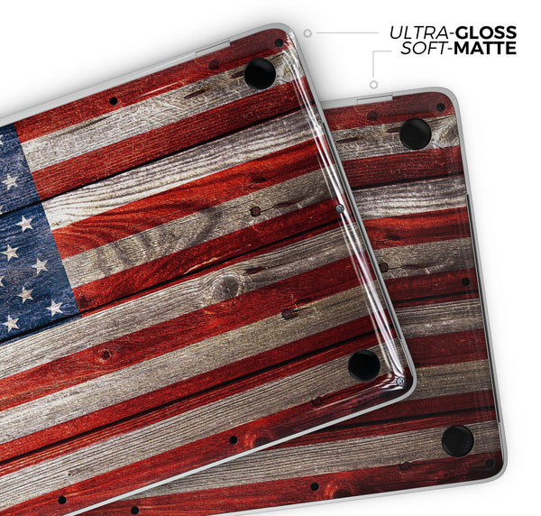 "Wooden Grungy American Flag - Skin Decal Wrap Kit Compatible with the Apple MacBook Pro, Pro with Touch Bar or Air (11"", 12"", 13"", 15"" & 16"" - All Versions Available)"