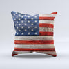 Wooden Grungy American Flag Ink-Fuzed Decorative Throw Pillow