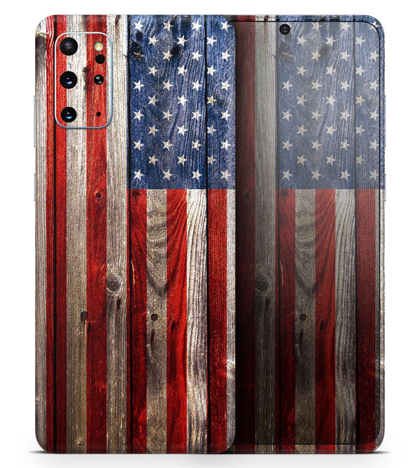 Wooden Grungy American Flag - Skin-Kit for the Samsung Galaxy S-Series S20, S20 Plus, S20 Ultra , S10 & others (All Galaxy Devices Available)