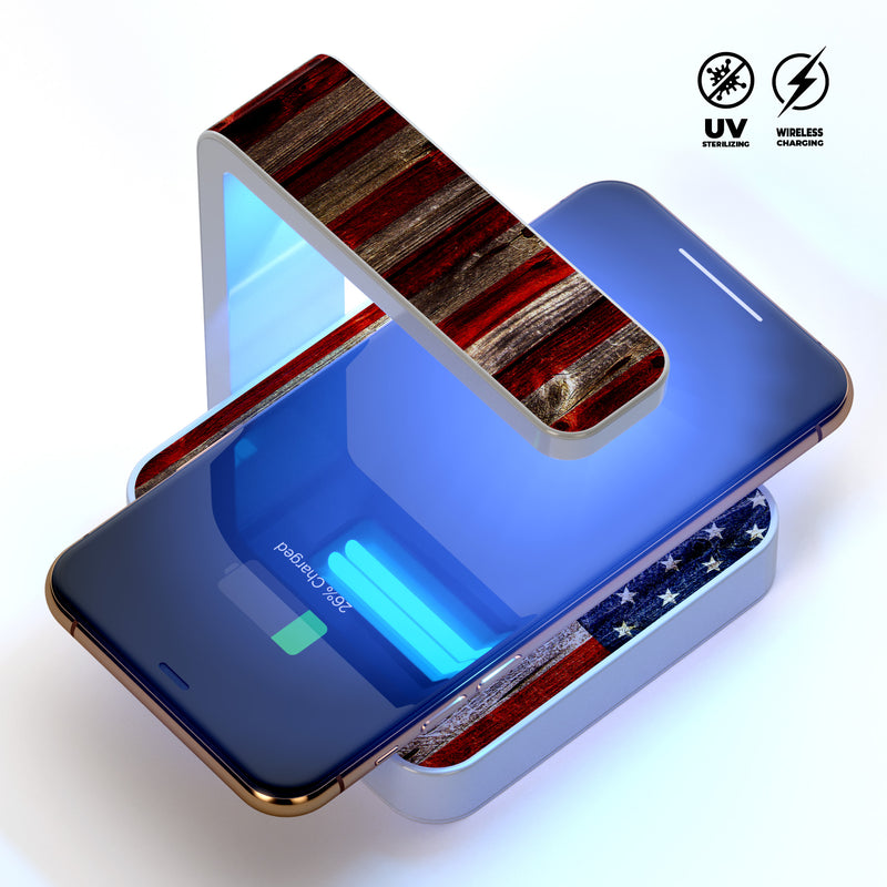 Wooden Grungy American Flag UV Germicidal Sanitizing Sterilizing Wireless Smart Phone Screen Cleaner + Charging Station