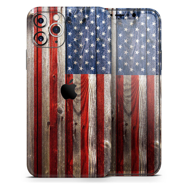 Wooden Grungy American Flag - Skin-Kit for the Apple iPhone 11, 11 Pro or 11 Pro Max