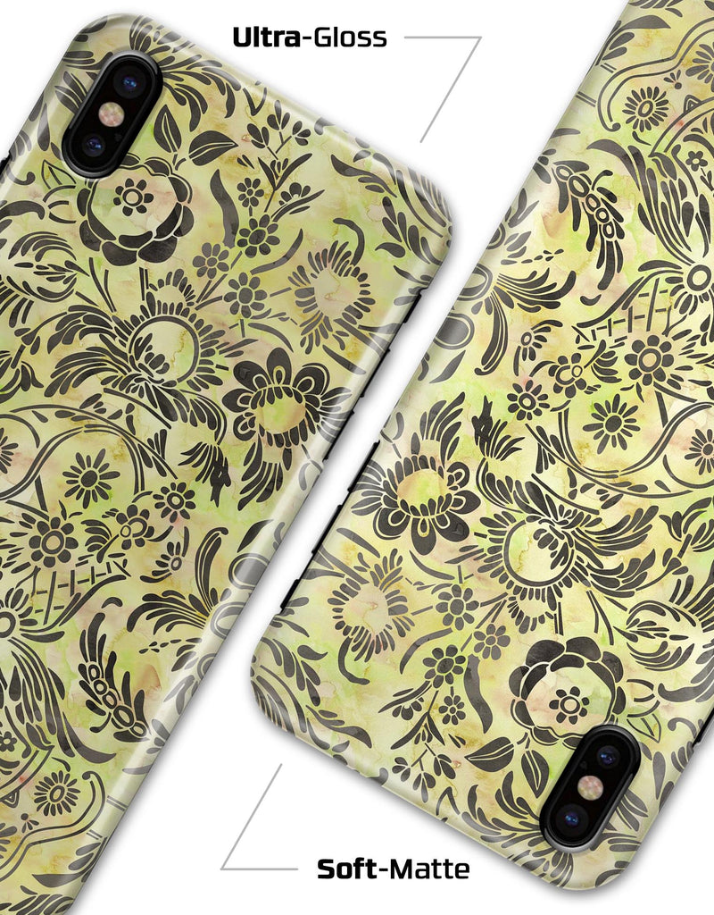 Woodland Green Damask Watercolor Pattern - iPhone X Clipit Case