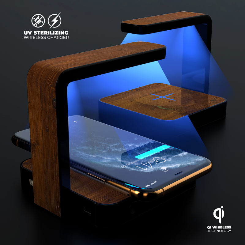 Worn Wood Planks V2876 UV Germicidal Sanitizing Sterilizing Wireless Smart Phone Screen Cleaner + Charging Station