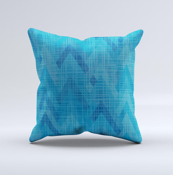 Woven Blue Sharp Chevron Pattern V3 ink-Fuzed Decorative Throw Pillow