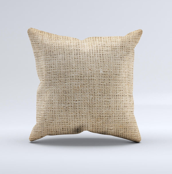 Woven Fabric Over Aged Wood ink-Fuzed Decorative Throw Pillow