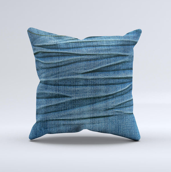 Wrinkled Jean texture Ink-Fuzed Decorative Throw Pillow