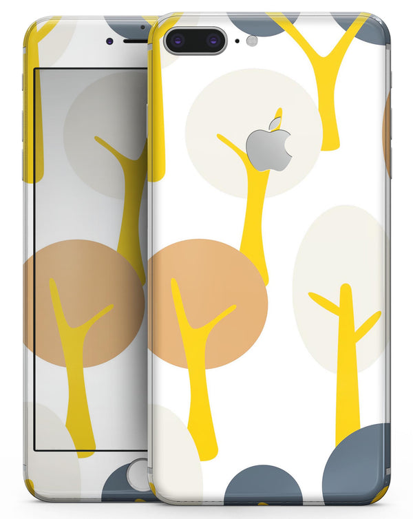 Yellow Cartoon Trees - Skin-kit for the iPhone 8 or 8 Plus