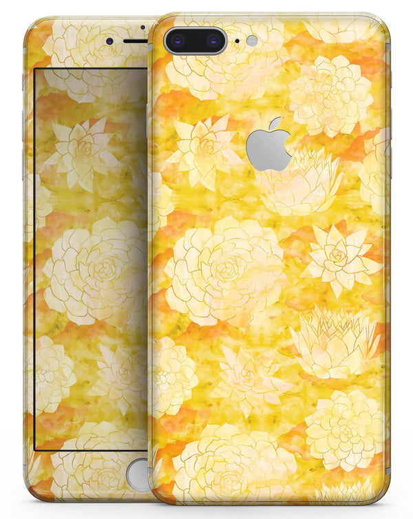 Yellow Floral Succulents - Skin-kit for the iPhone 8 or 8 Plus