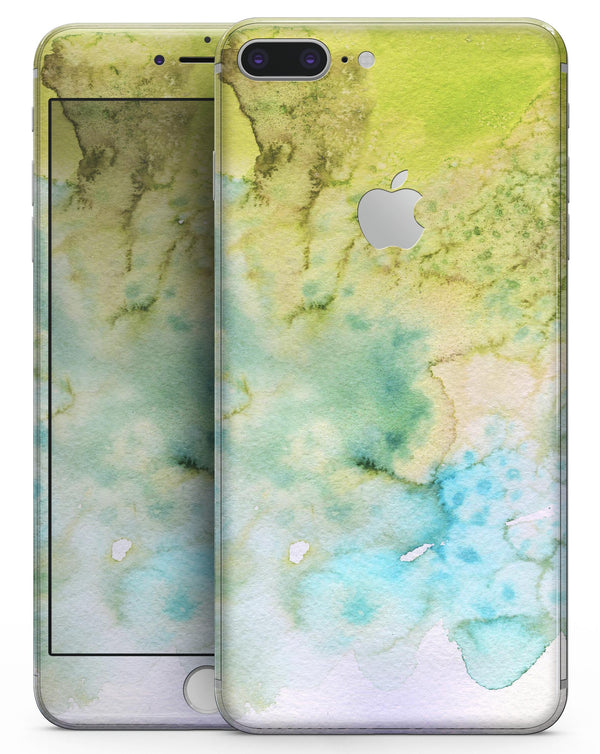 Yellow Green 197 Absorbed Watercolor Texture - Skin-kit for the iPhone 8 or 8 Plus