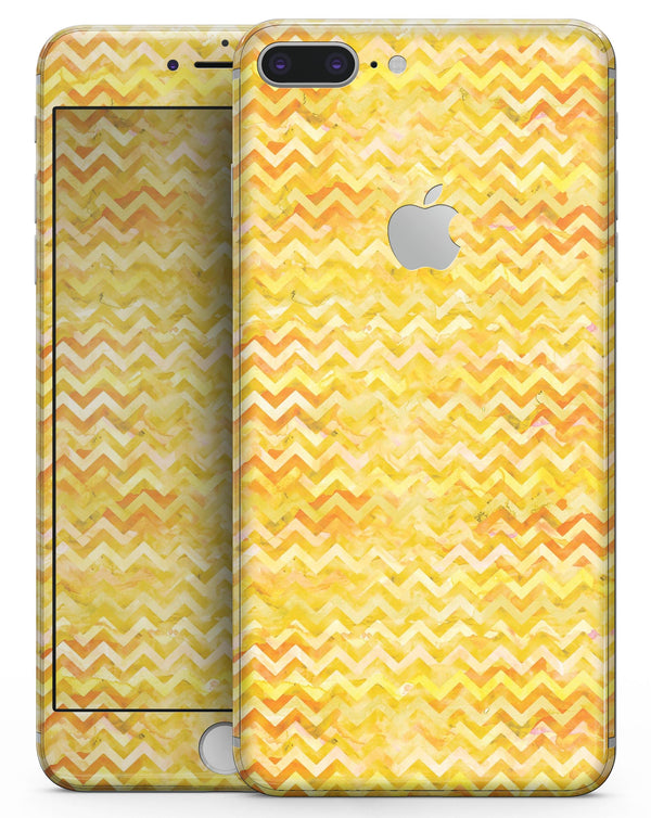 Yellow Multi Watercolor Chevron - Skin-kit for the iPhone 8 or 8 Plus