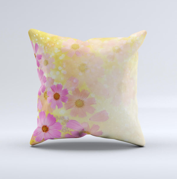 Yellow & Pink Flowerland Ink-Fuzed Decorative Throw Pillow